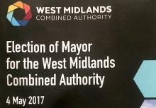 Front of West Midlands CA Mayoral Election booklet