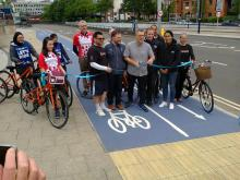 Cutting the Ribbon to Open the A34 and A38 Cycleways