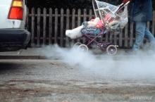 Image from Greenpeace of baby in pushchair next to exhaust fumes.