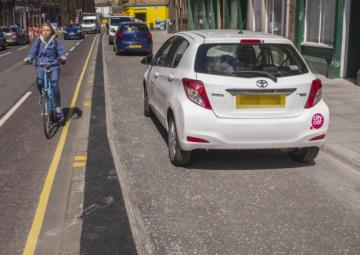 Parking on cycle path in Edinburgh
