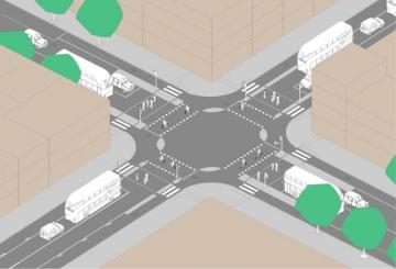 Image of crossroads with segregated cycle lanes allowing cycles and pedestrians to cross at the same time (Brian Deegan)