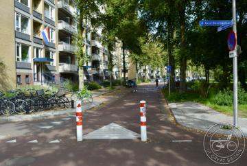 Example of filtered permeability using bollards in the Netherlands.