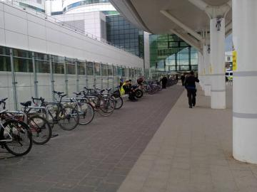 Cycle parking at the QE hospital main entrance