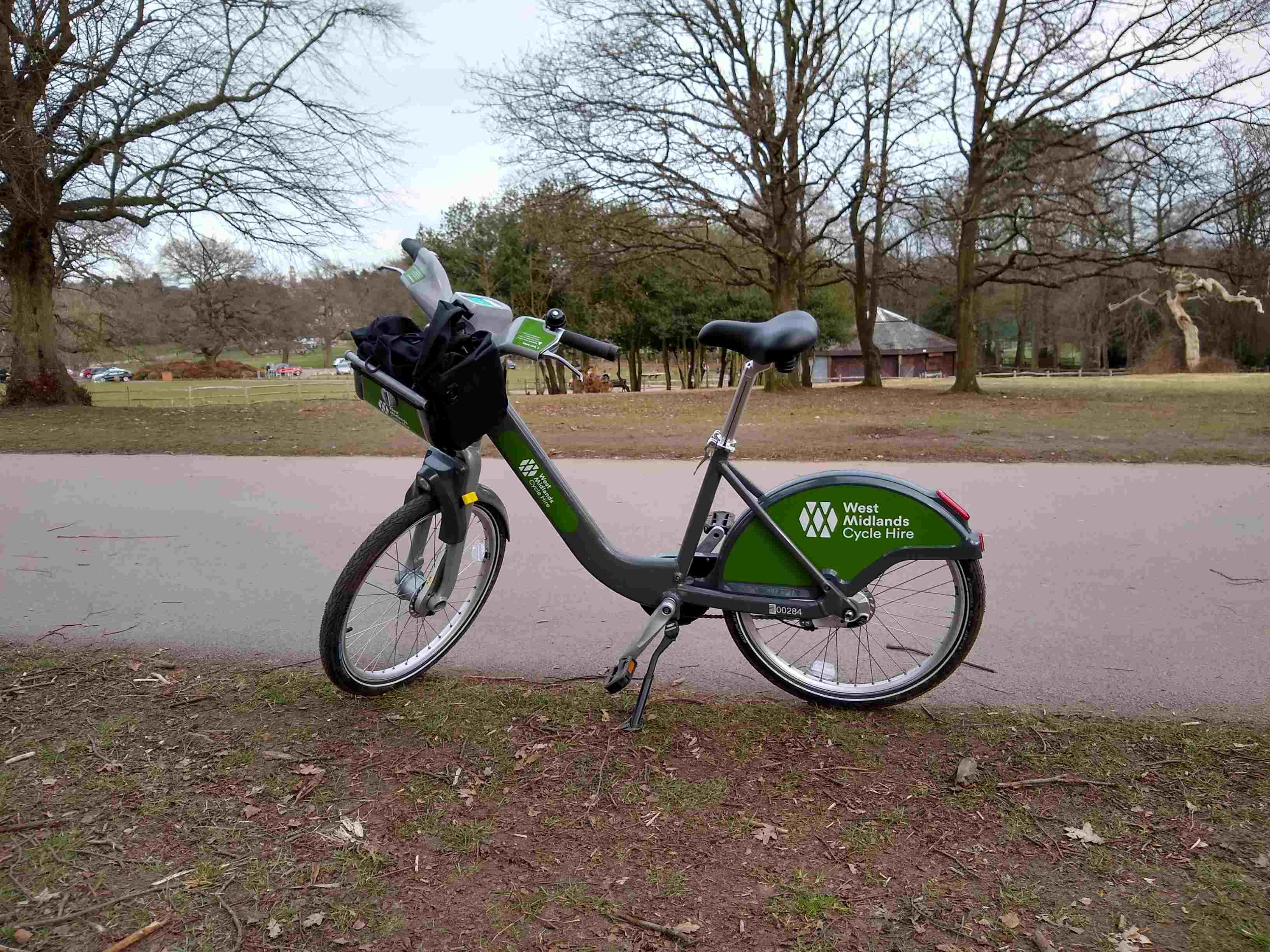 WM hire bike on its kickstand
